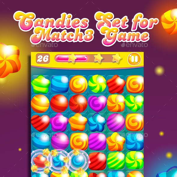 Big Match-3 Puzzle Game Gems Set