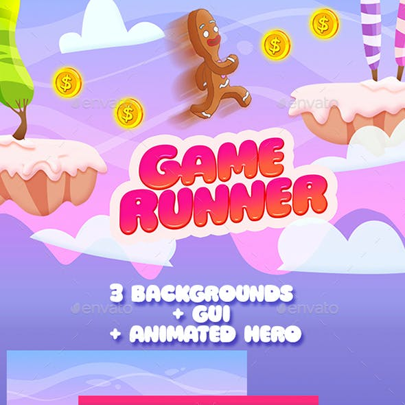 2D Infinity Runner Game Set (Full Version: Background, GUI and Animated Character )