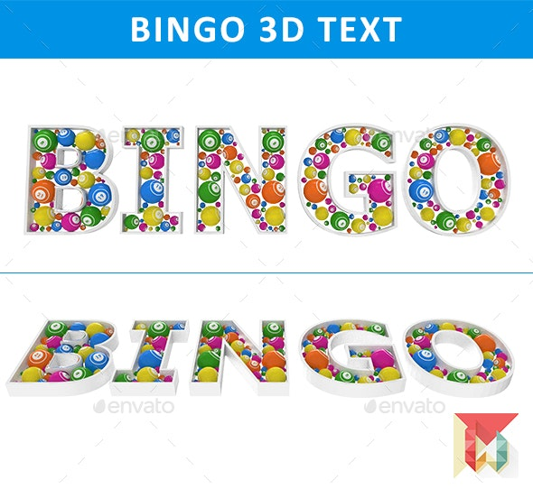 Bingo 3D Text with Bingo Balls - Objects 3D Renders