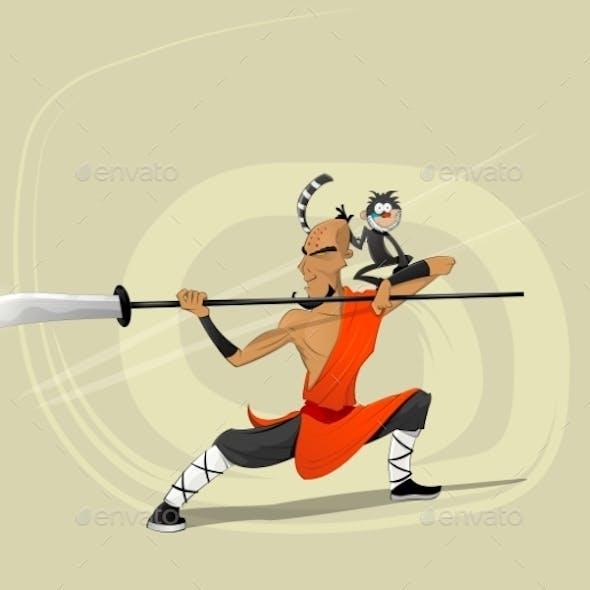 Shaolin Warrior Monk Illustration