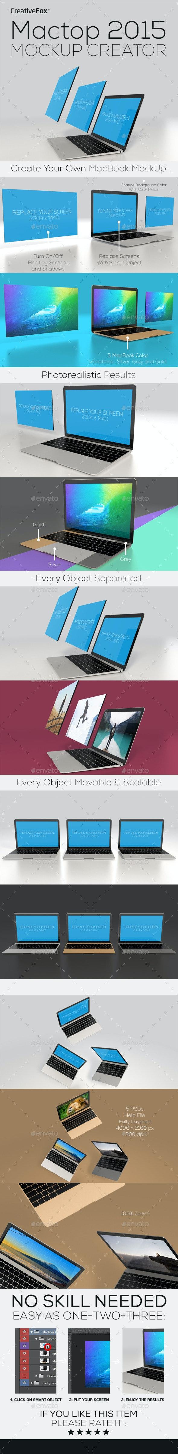 Mactop 2015 Mockup Creator - Laptop Mockup - Multiple Displays