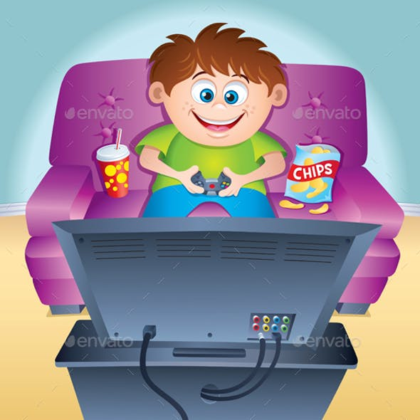 Kid Playing Video Game on a Couch