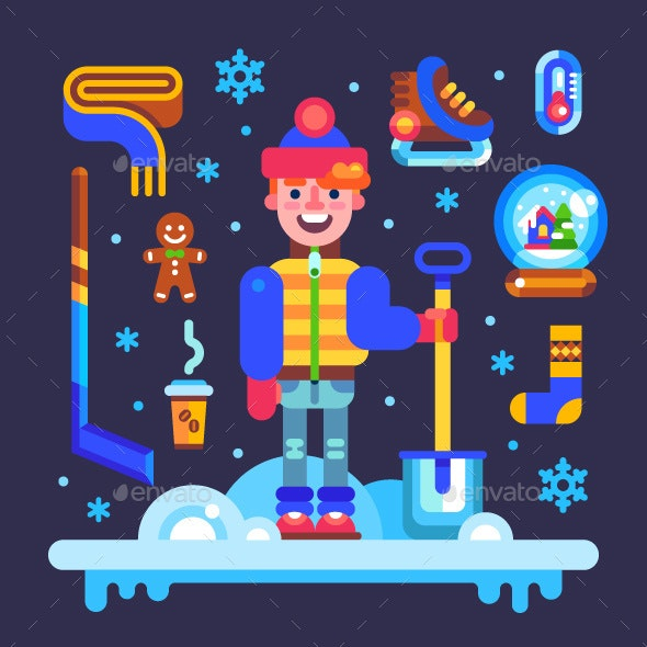 Set of Winter Attributes for Fun and Holidays - Seasons/Holidays Conceptual