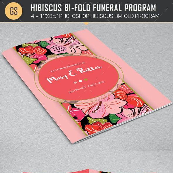 Hibiscus Bi-Fold Funeral Program Template