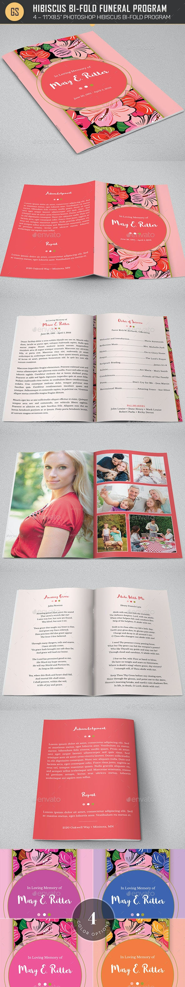 Hibiscus Bi-Fold Funeral Program Template - Informational Brochures
