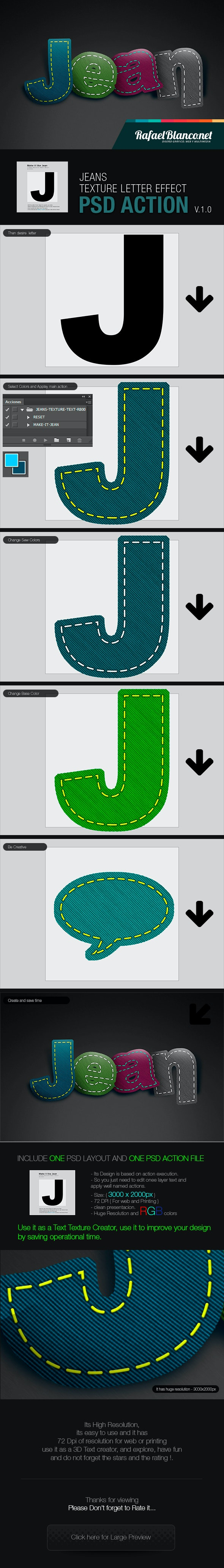 Jeans Styled Letter Effect - Text Effects Actions