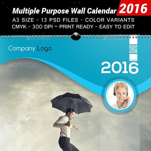 Multiple Purpose Wall Calendar 2016