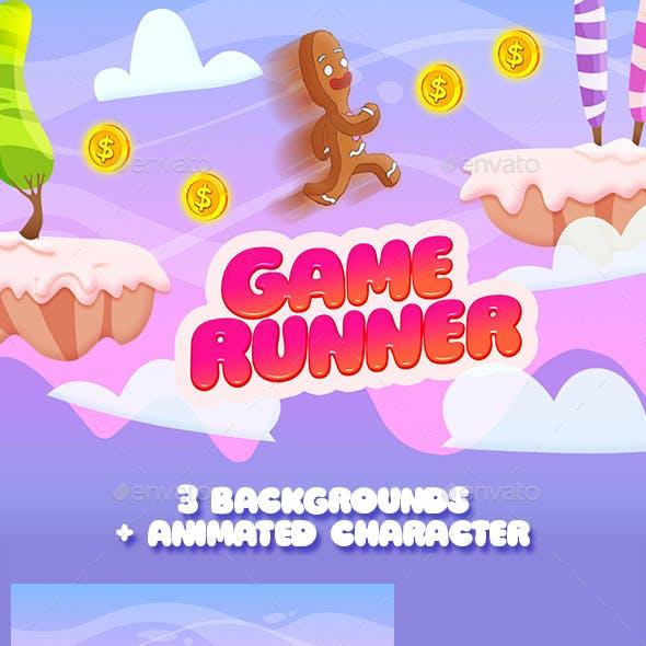2D Game Runner Platformer Asset with 3 Seamless Background