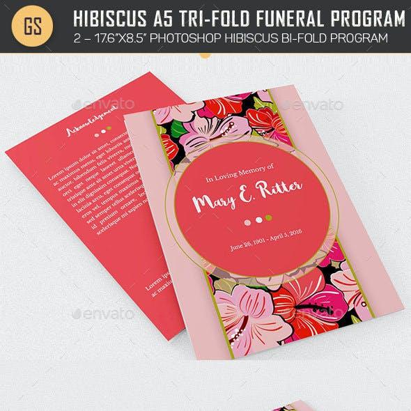 Hibiscus A5 Tri-Fold Funeral Program Template