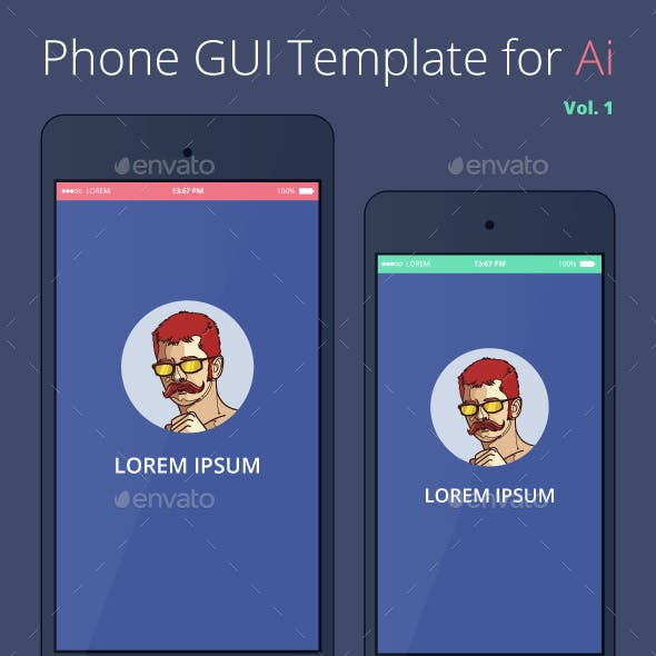 Phone GUI Template for Ai Wireframe UI Kit
