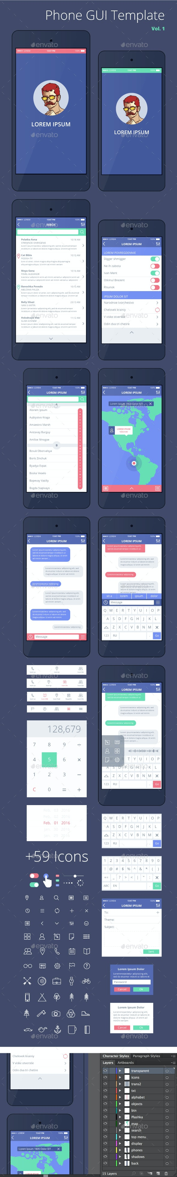 Phone GUI Template for Ai. Wireframe UI Kit. - User Interfaces Web Elements