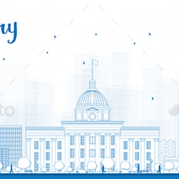 Outline Montgomery Skyline with Blue Buildings.