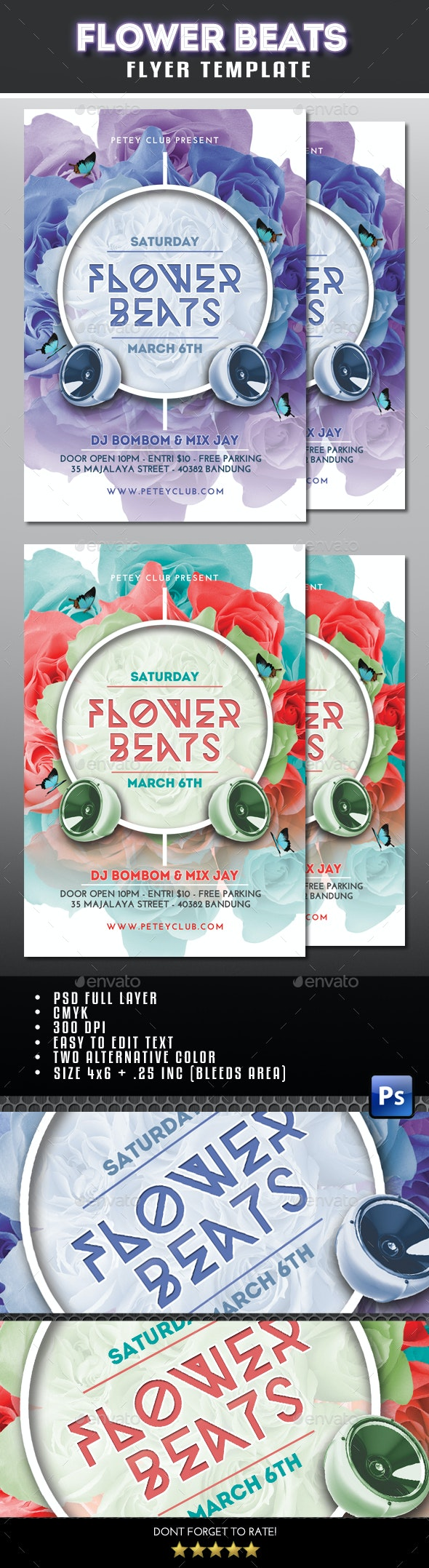 Flower Beats Flyer - Clubs & Parties Events