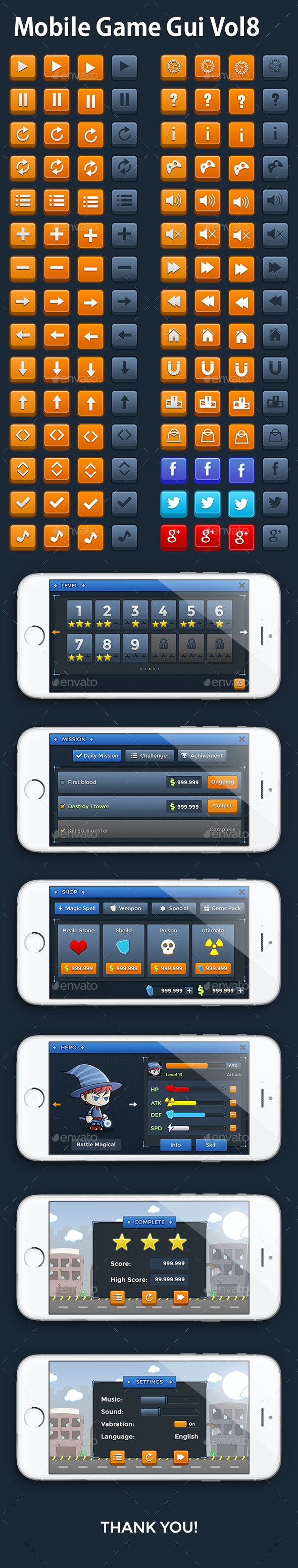 Mobile Game Gui Vol 8 - User Interfaces Game Assets