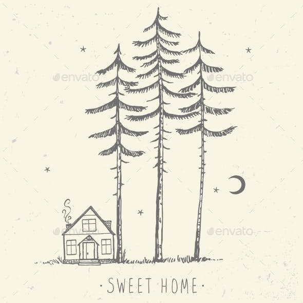 Pine and House Silhouette