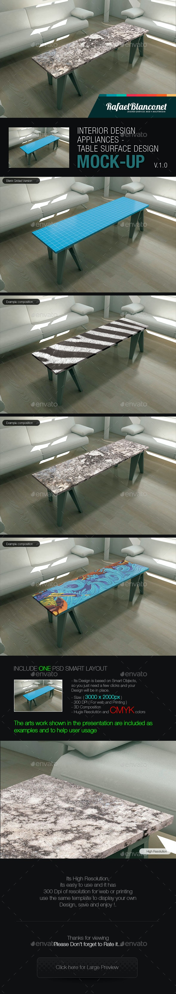 Table for Appliance surface Design Mock-Up - Miscellaneous Displays