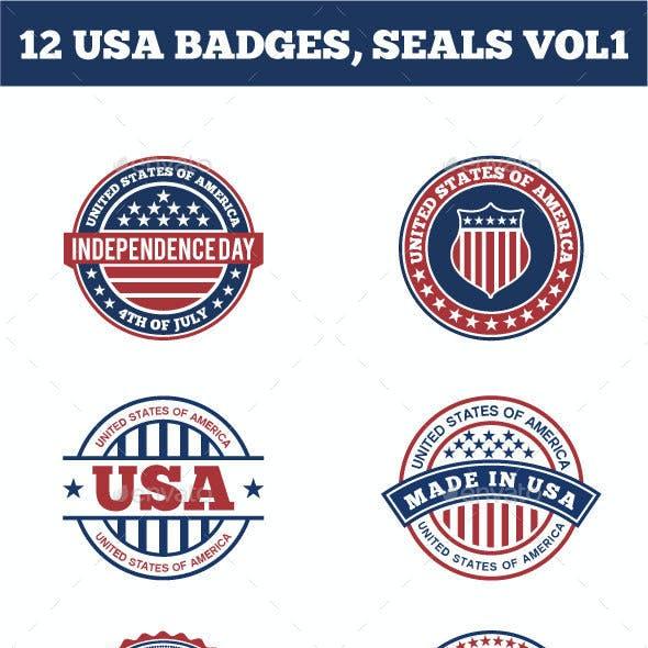 12 USA BADGES,  SEALS VOL1