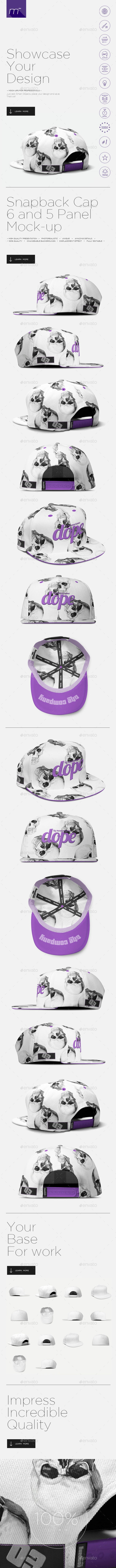 2x Snapback Cap (5 and 6 Panels) Mock-up - Miscellaneous Apparel