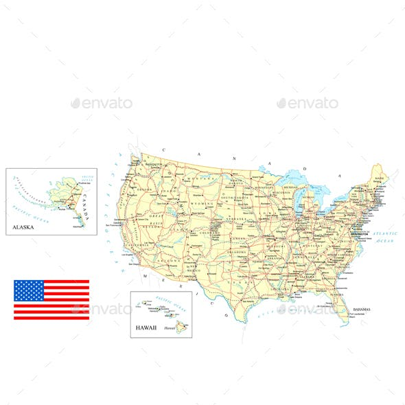 USA - Detailed Map - Illustration.