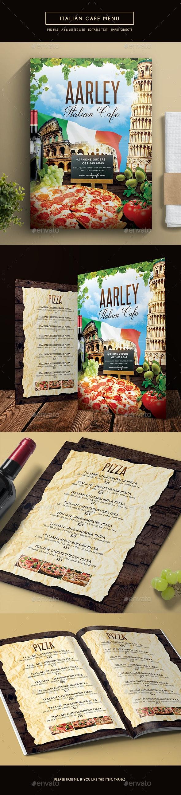 Italian Cafe Menu - Food Menus Print Templates