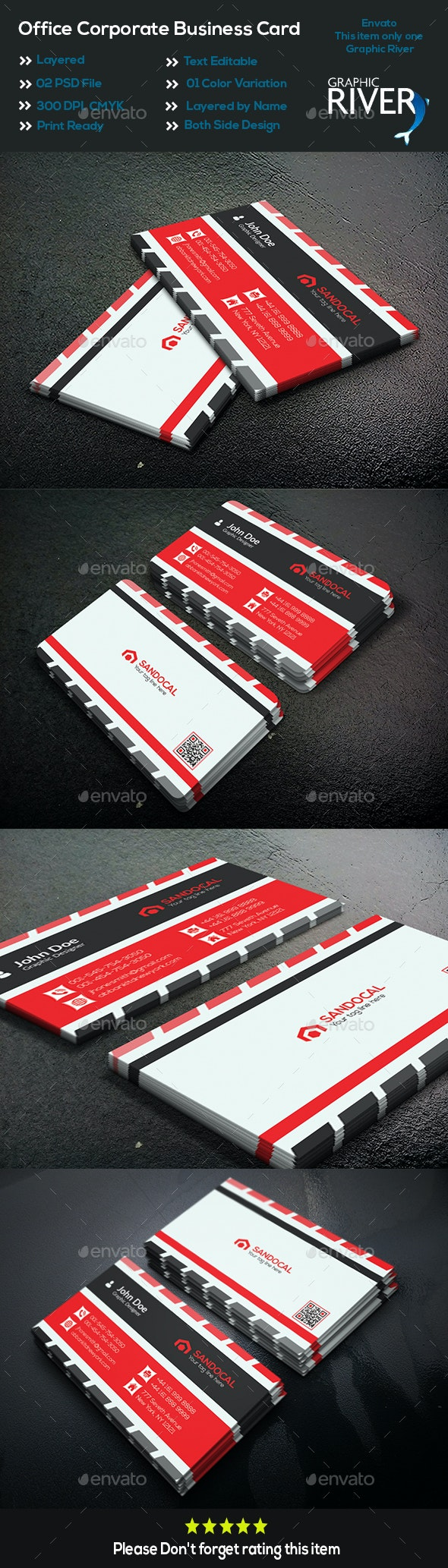 Office Corporate Business Card - Business Cards Print Templates