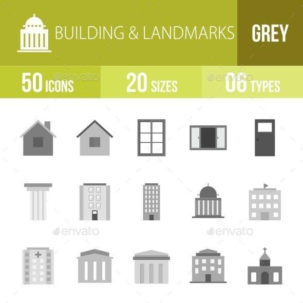 Buildings & Landmarks Greyscale Icons