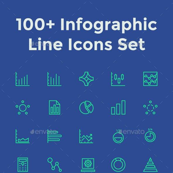 100+ Infographic Line Icons Set
