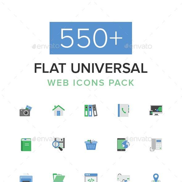 550+ Flat Universal Web Icons Pack