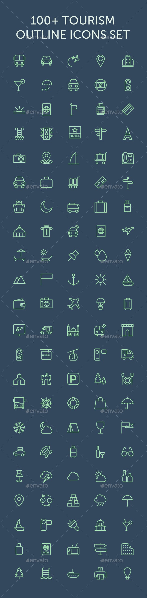 100+ Tourism Outline Icons Set - Icons