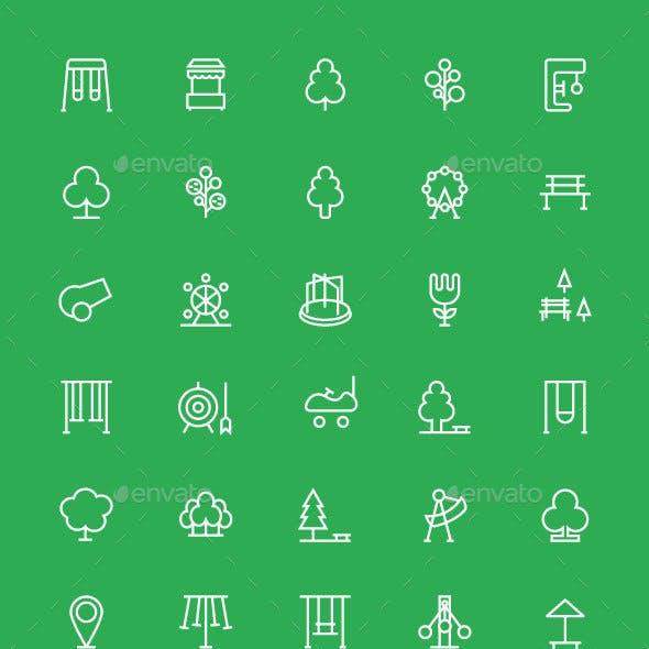 70 Park Outline Icons Set