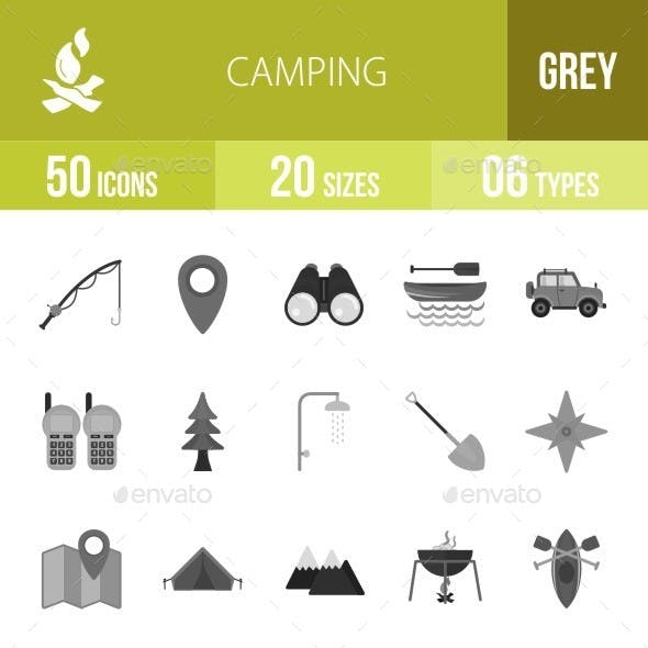 Camping Greyscale Icons