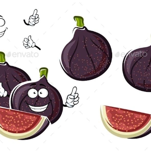 Ripe Purple Fig Fruits Cartoon Character