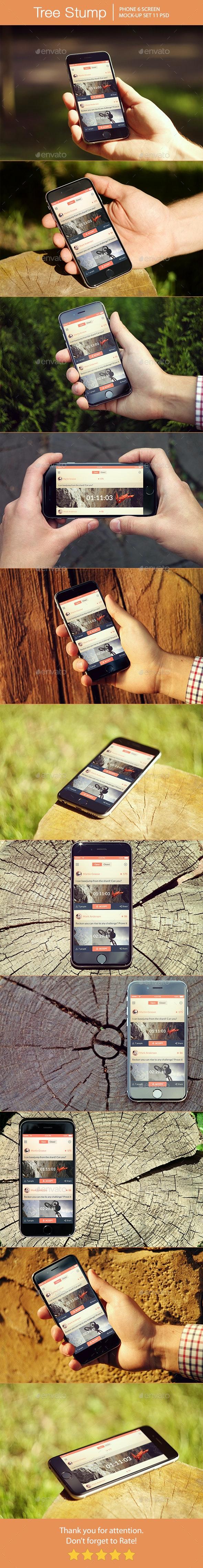 Tree Stump iPhone 6 Mockup - Mobile Displays