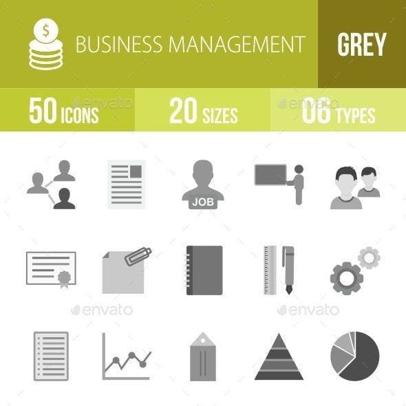 Business Management Greyscale Icons