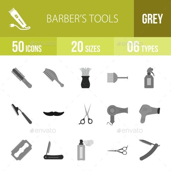 Barber's Tools Greyscale Icons
