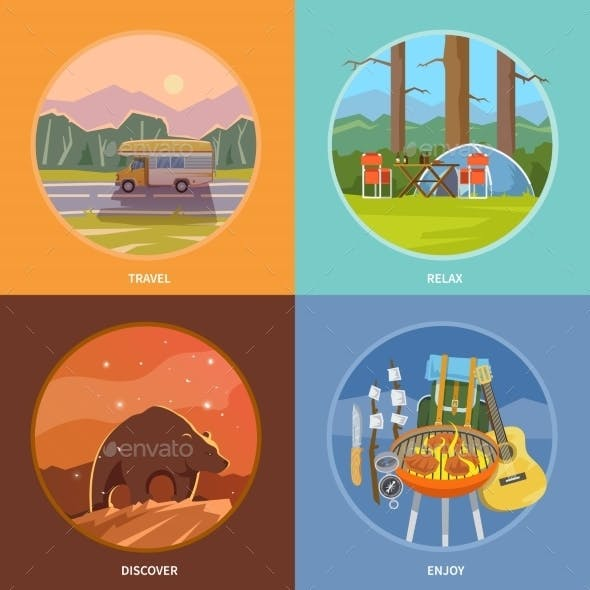 Square Flat Camping Illustrations