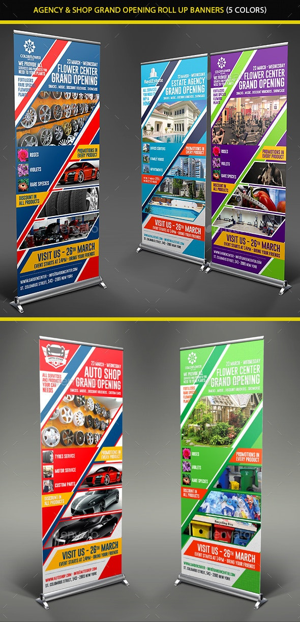 Agency & Shop Grand Opening Roll Up Banners - Signage Print Templates