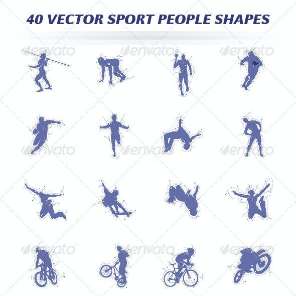 40 Vector Sport People Shapes