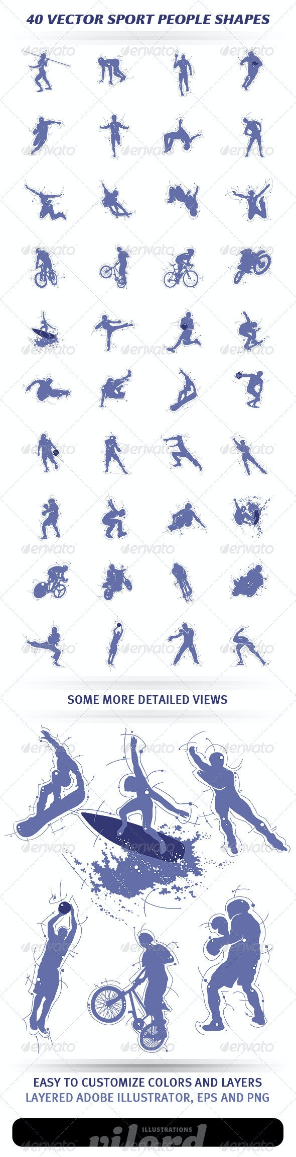 40 Vector Sport People Shapes - Sports/Activity Conceptual