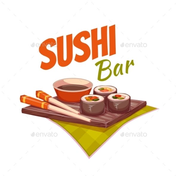 Sushi with Sauce and Chopsticks on Plate