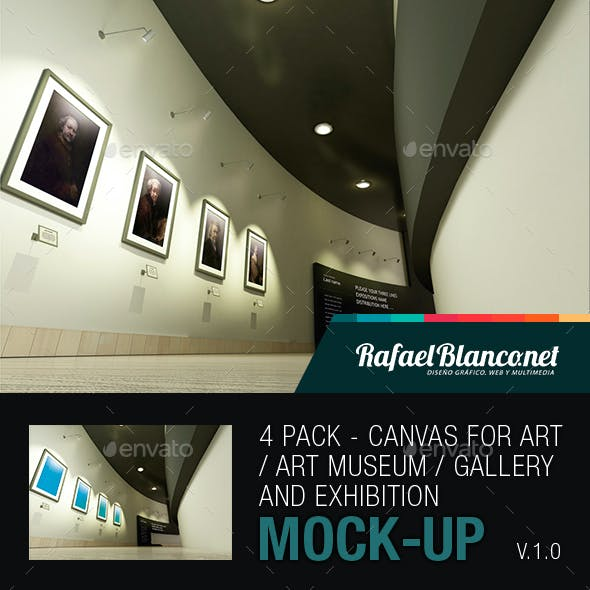 4 Pack - Canvas for fine arts / Museum / Gallery and Exhibition Mock-Up