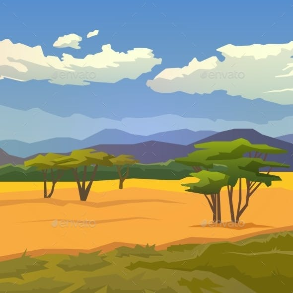 Savannah with Mountains Background