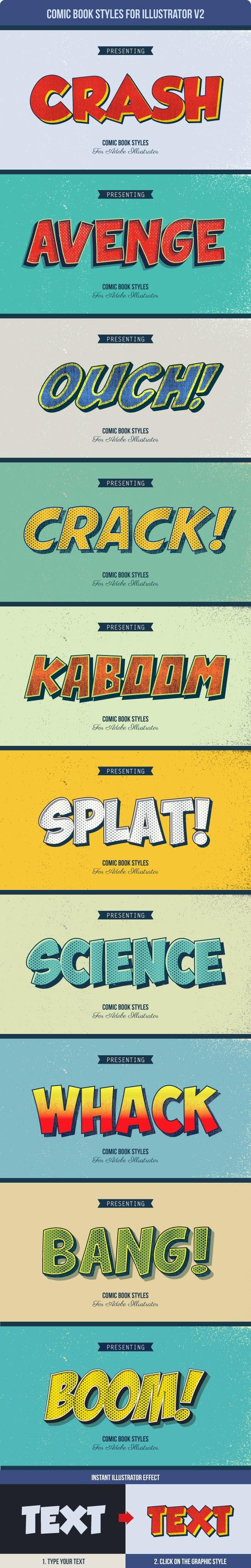 Comic Book Styles for Illustrator V2 - Styles Illustrator