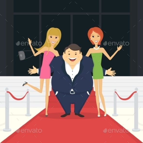 Fat Famous Man with His Thin Girlfriends
