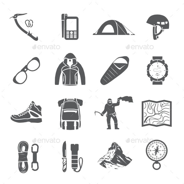 Climbing Black and White Icons