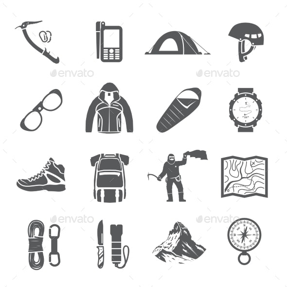 Climbing Black and White Icons - Travel Conceptual