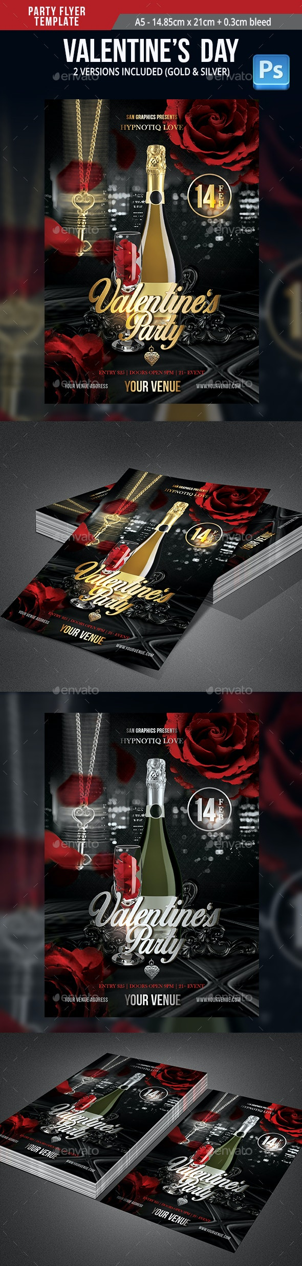 Hypnotic Valentine's Day Party Flyer Template - Flyers Print Templates