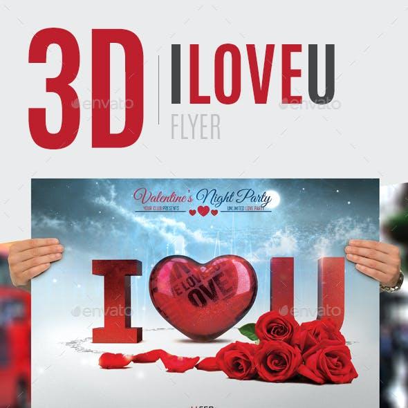 3D I Love You Flyer