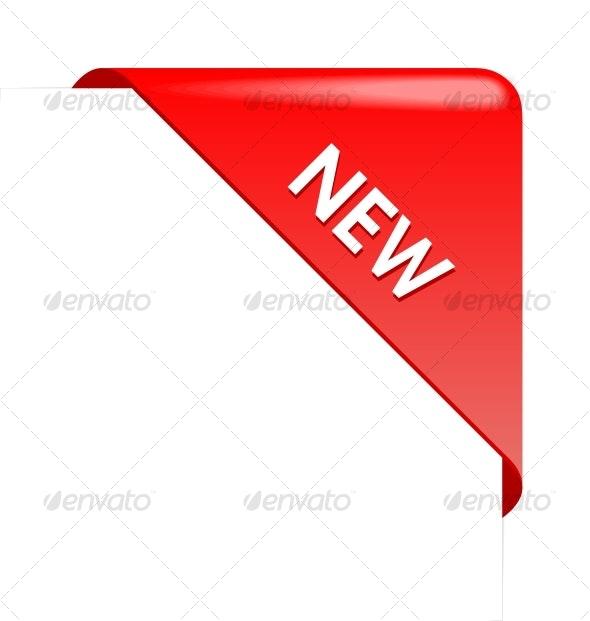 New red corner business ribbon - Decorative Symbols Decorative