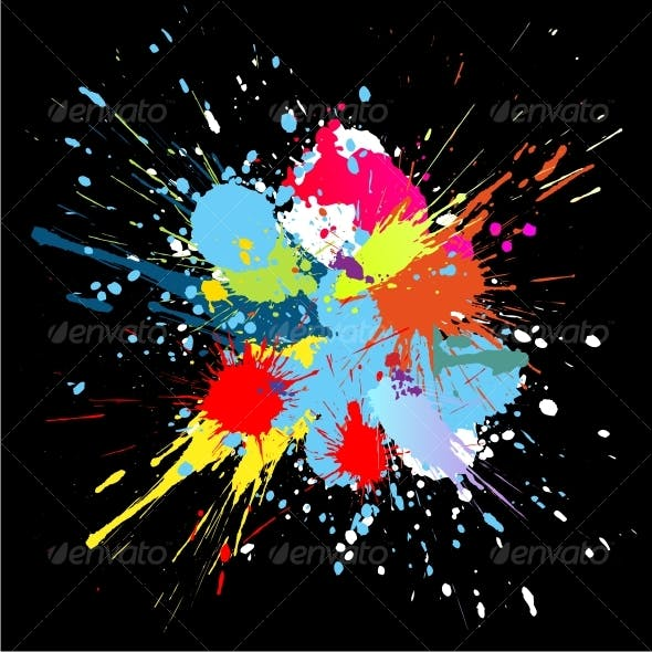 Colourful bright ink splat design at black .